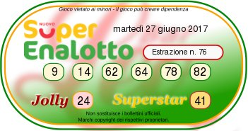 Superenalottodi martedì 28-06-2017 concorso n.75