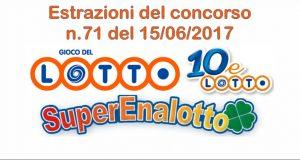 Estrazioni del Lotto, Superenalotto e 10eLotto di oggi 15 giugno 2017 n.71