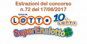 Estrazioni del Lotto, Superenalotto e 10eLotto di oggi 17 giugno 2017 n.72