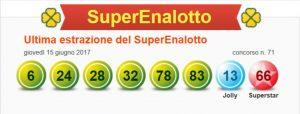Ultima estrazione del Superenalotto concorso n.71