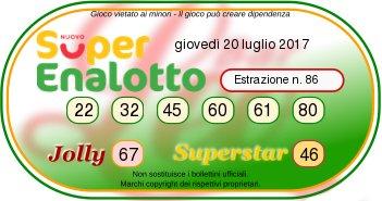 Superenalottodi giovedì 20-07-2017 concorso n.86
