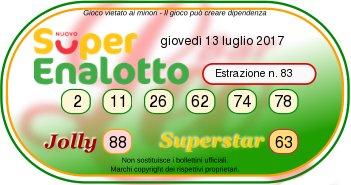 Superenalottodi giovedì 14-07-2017 concorso n.83
