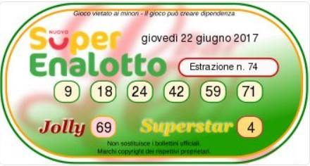 Superenalottodi giovedì 22-06-2017 concorso n.74
