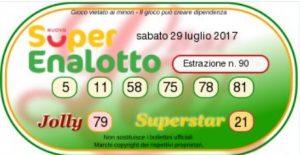Ultima estrazione del Superenalottodi sabato 29-07-2017 concorso n.90