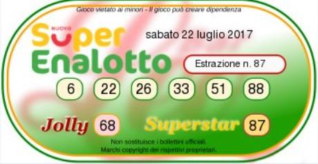 combinazione vincente superenalotto 22-07-2017