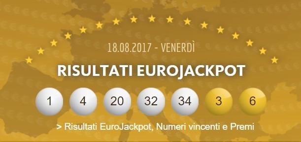 combinazione vincente del concorso numero 33 di venerdì 18 agosto 2017